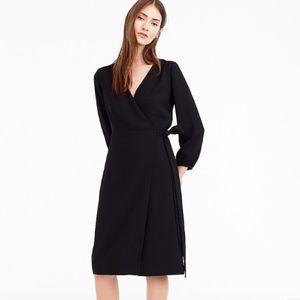 J. CREW 365 Crepe Wrap Dress 12 Black NWOT